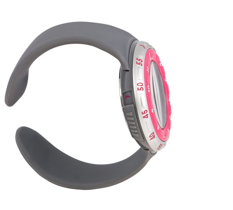 The Benbini Watch in Pink and Gray from the side