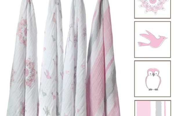 For the Birds Classic Muslin Swaddle Blankets (4-Pack) by aden + anais