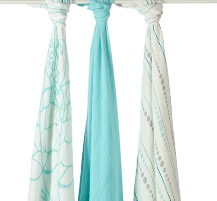 Azure Bamboo Swaddle Blankets (3-Pack) by Aden + Anais