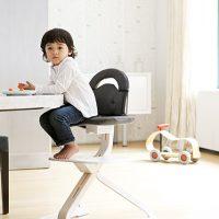SCI SVAN Scandinavian Child Whitewash Signet Essential Highchair boy in signet-gray cushion