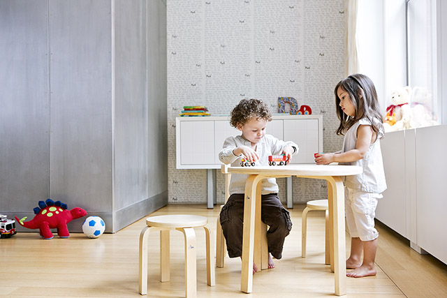 SCI SVAN Scandinavian Child Play With Me Toddler Table + Chairs Set Natural boy playing with girl
