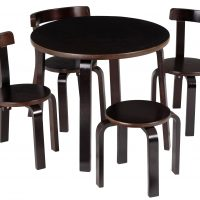 SCI SVAN Scandinavian Child Play With Me Toddler Table + Chairs Set Espresso