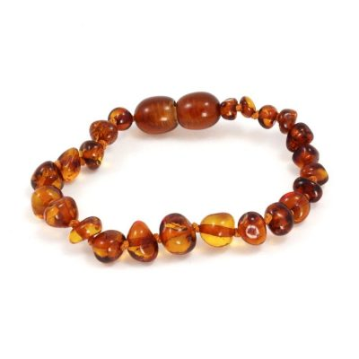 Baltic Amber Teething Bracelet in Amber color by Momma Goose