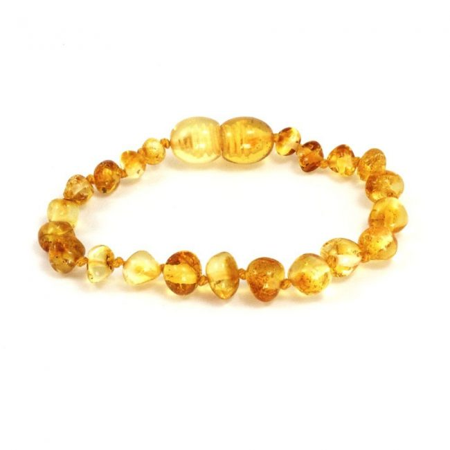 Baltic Amber Teething Bracelet in Lemon color by Momma Goose