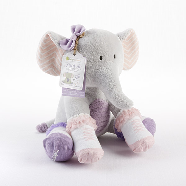 "Baby Aspen ""Tootsie in Footsies"" Plush Plus Elephant and Socks for Baby"