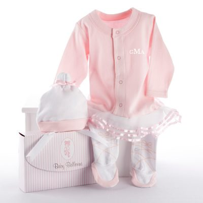 "Baby Aspen ""Big Dreamzzz"" Baby Ballerina Two-Piece Layette Set in ""Studio"" Gift Box"