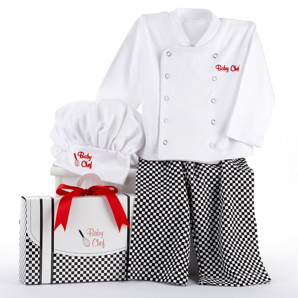"""Big Dreamzzz"" Baby Chef Three Piece Layette in Culinary Themed Gift Box by Baby Aspen"