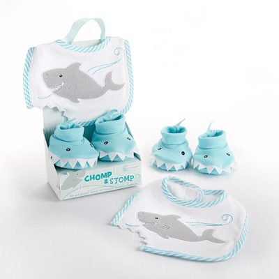 "Baby Aspen ""Chomp & Stomp"" Shark Bib and Booties Gift Set"