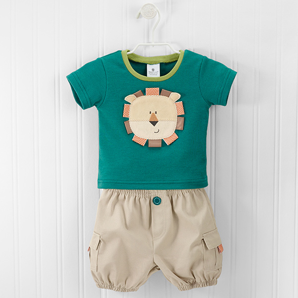 "Baby Aspen ""King of the Jungle"" T-shirt and Cargo Style Shorts Set"