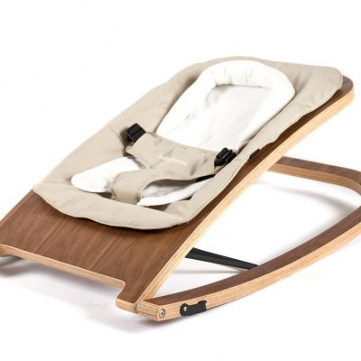 Babyhome Wave Wooden Baby Rocker Walnut Frame Sand Fabric