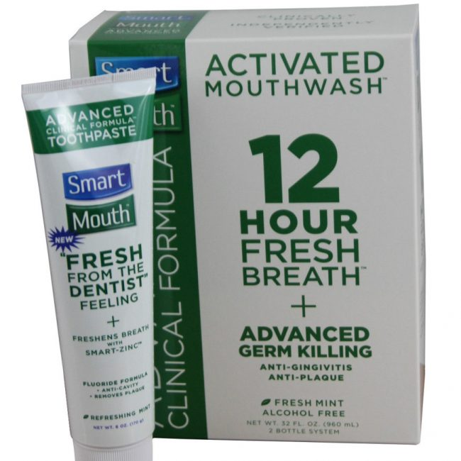SmartMouth Advanced Mouthwash 12 Hour Fresh Breath and 6 oz Toothpaste Combo