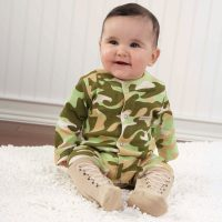Baby Aspen Baby Solider in Camo Outfit with Boots