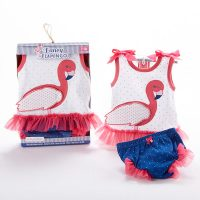 "Baby Aspen ""Fancy Flamingo"" Tunic and Diaper Cover Set"