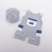 """Baby Aspen """"All Aboard!"""" Romper and Hat Set"""
