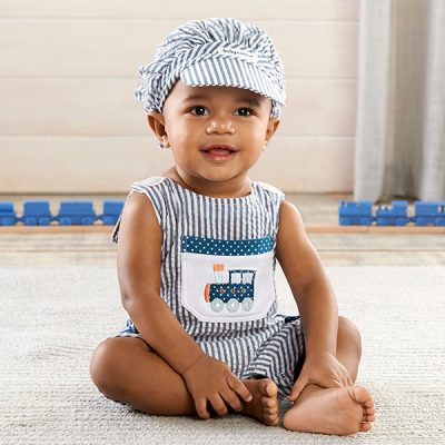 "Baby Aspen ""All Aboard!"" Romper and Hat Set"