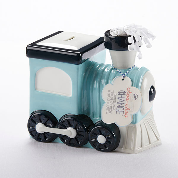 """Choo-Choo Change"" Ceramic Train Bank by Baby Aspen"