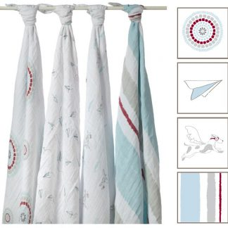 3abf48a88a Liam the Brave Classic Muslin Swaddle Blanket (4-Pack) by Aden + ...