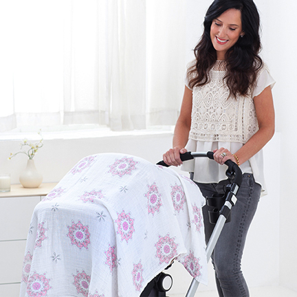 For The Birds Classic Swaddles by aden and anais Blanket On Stroller Item No. 2035