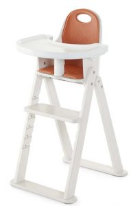 SCI SVAN Scandinavian Child Baby to Booster Highchair No Tray with Guard Crotch Bar Whitewash and Tangerine