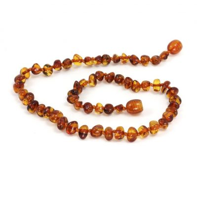 Momma Goose Amber Teething Necklace Baroque Cognac