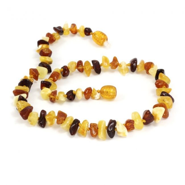 Momma Goose Chip Multi Baltic Amber Teething Necklace