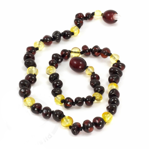 Baltic Amber Teething Necklace with Honey and Cherry Beads