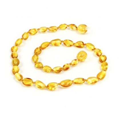 Momma Goose Olive Lemon Baltic Amber Teething Necklace