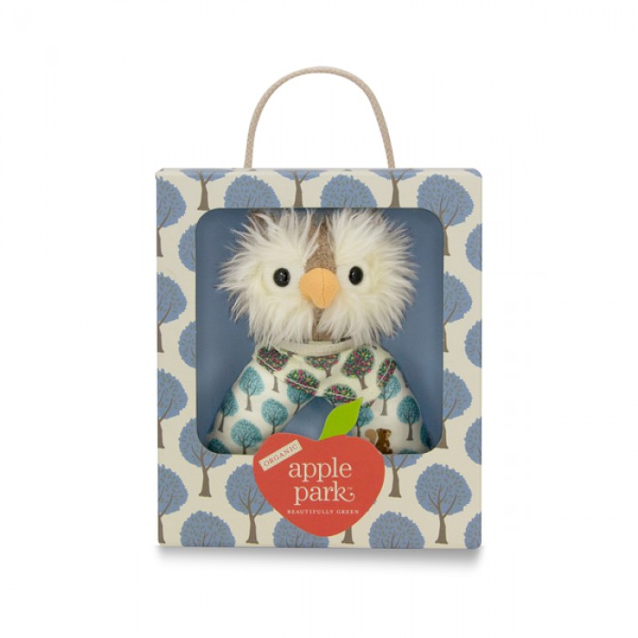 Apple Park Owl Organic Patterned Rattle