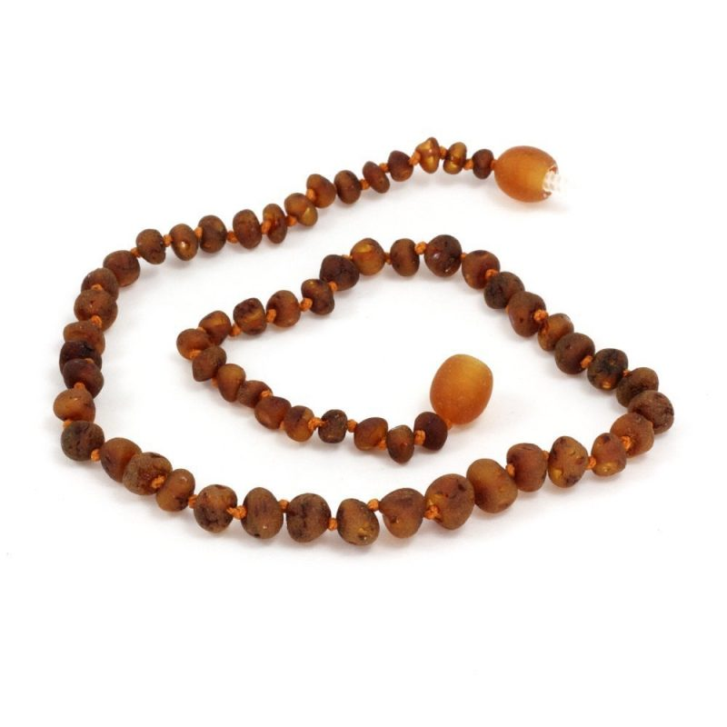 Baltic Amber Teething Necklace in Unpolished Cognac Color by Momma Goose