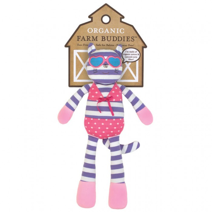 """Apple Park Organic Farm Buddies Catnap Kitty 14"""" Plush Toy with Packaging"""