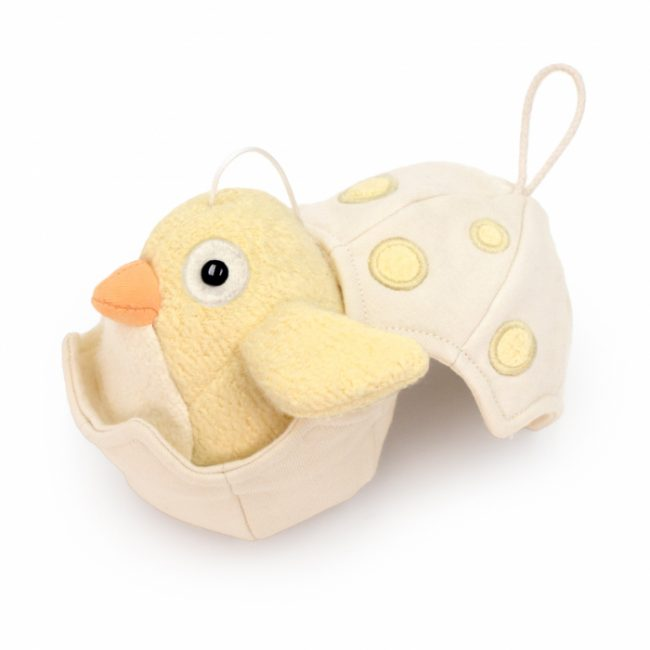 Musical Baby Bird Pull Toy in Yellow by Apple Park