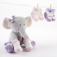 """Baby Aspen """"Tootsie in Footsies"""" Plush Plus Elephant and Socks for Baby"""