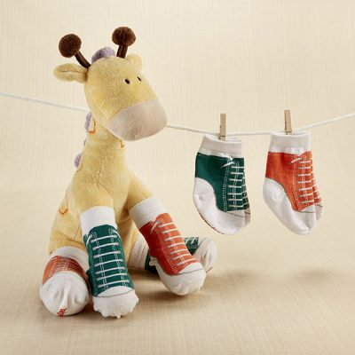 """Herbie in Hightops"" Plush Plus Giraffe and 2 Pair of Socks for Baby"