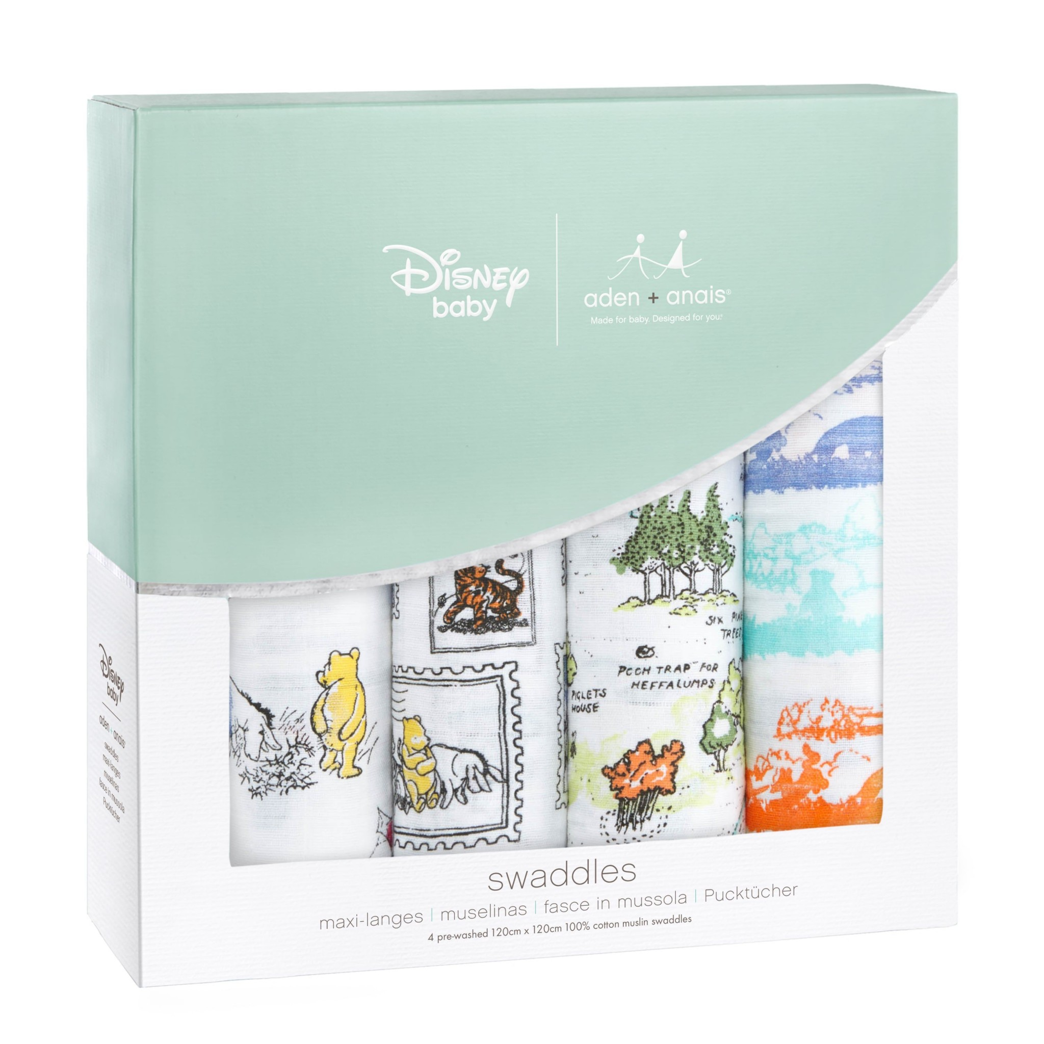 3780727de3 47″ Winnie the Pooh Classic Swaddle Blanket (4-Pack) by Aden + Anais ...