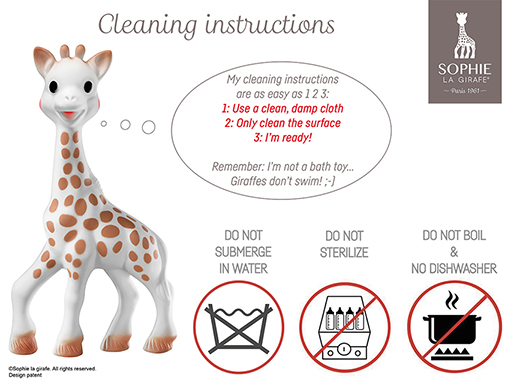 Sophie the Giraffe Cleaning Instructions