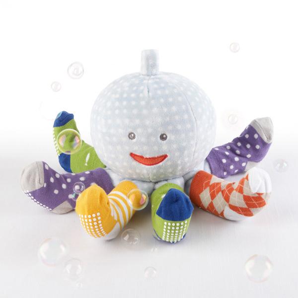 "Baby Aspen ""Mr. Sock T. Pus"" Plush Plus Octopus with 4 Pairs of Socks (Blue)"