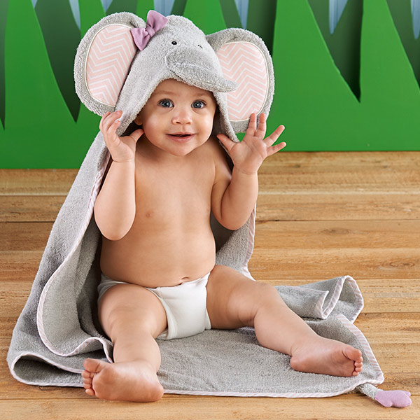 "Baby Aspen ""Splish Splash Elephant Bath"" Spa Hooded Towel"