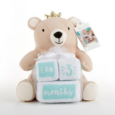 Baby Aspen My First Milestone Brown Bear Plush Plus Baby Age Blocks